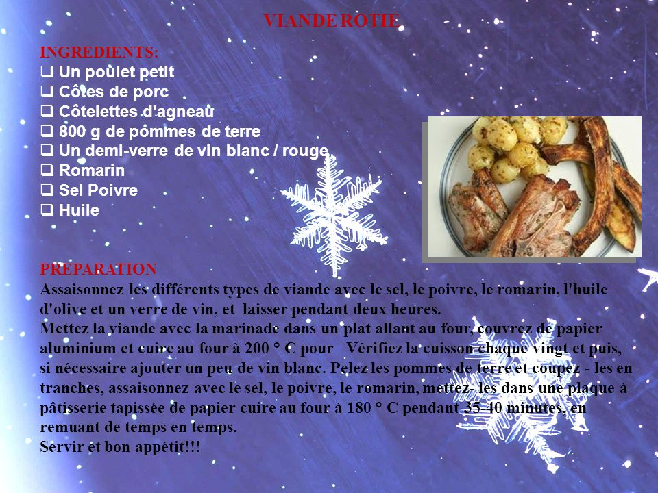 VIANDE ROTIE INGREDIENTS: Un poulet petit Côtes de porc