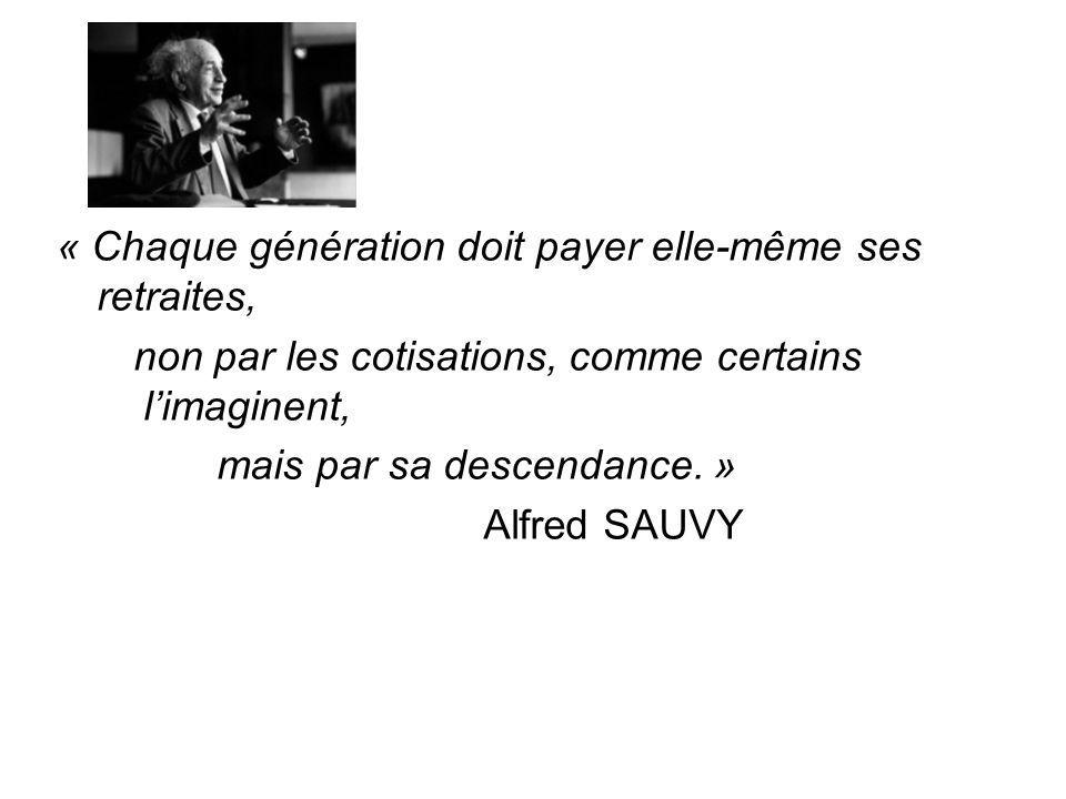 « Chaque génération doit payer elle-même ses retraites, non par les cotisations, comme certains l'imaginent, mais par sa descendance.