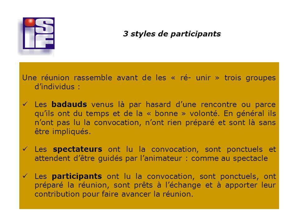 3 styles de participants
