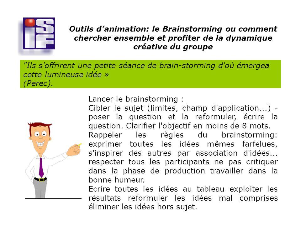 Outils d'animation: le Brainstorming ou comment chercher ensemble et profiter de la dynamique créative du groupe