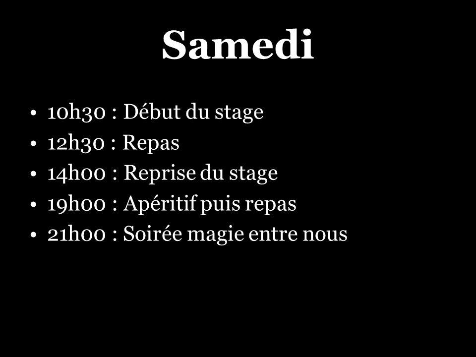 Samedi 10h30 : Début du stage 12h30 : Repas 14h00 : Reprise du stage