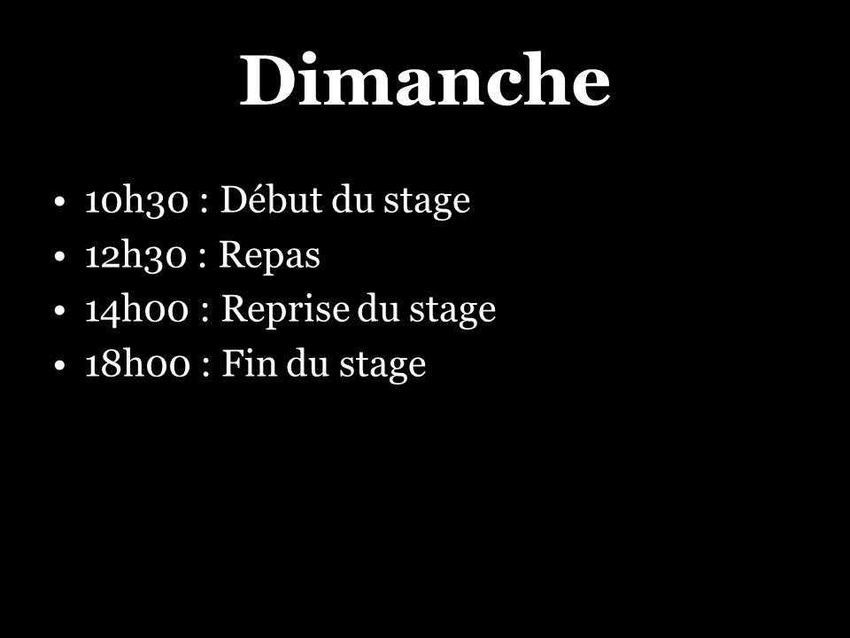 Dimanche 10h30 : Début du stage 12h30 : Repas 14h00 : Reprise du stage