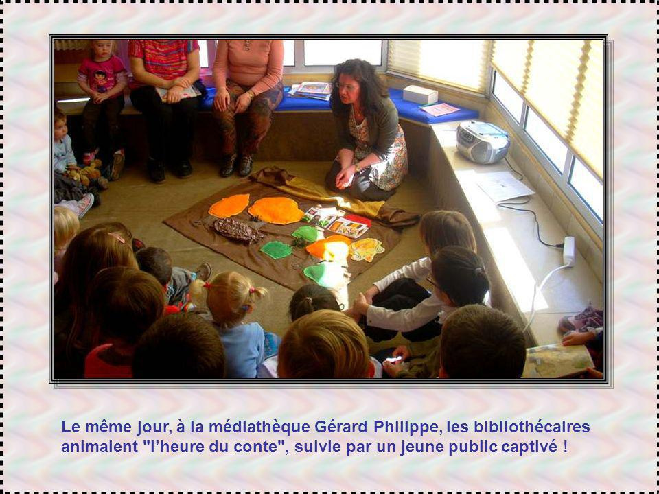 Le même jour, à la médiathèque Gérard Philippe, les bibliothécaires animaient l'heure du conte , suivie par un jeune public captivé !