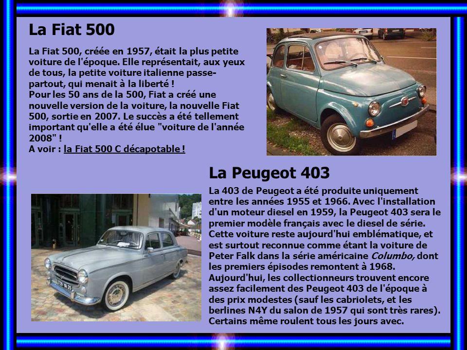 Allez les Filles… La Fiat 500 La Peugeot 403