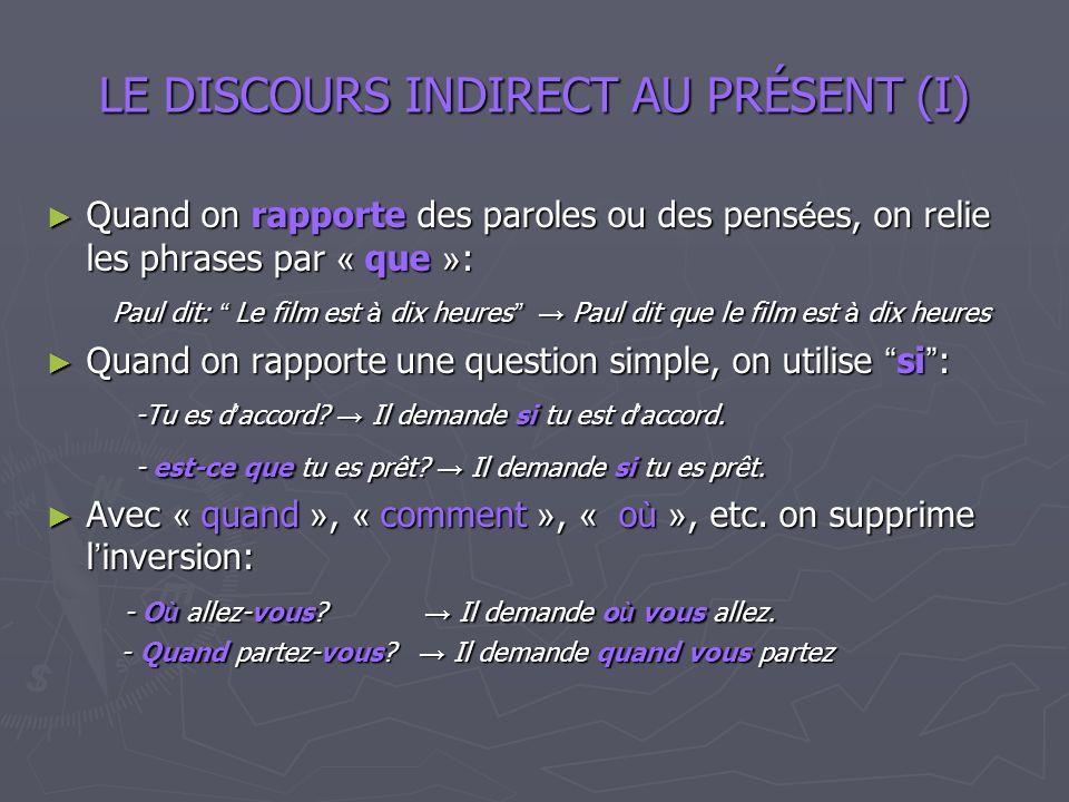 LE DISCOURS INDIRECT AU PRÉSENT (I)