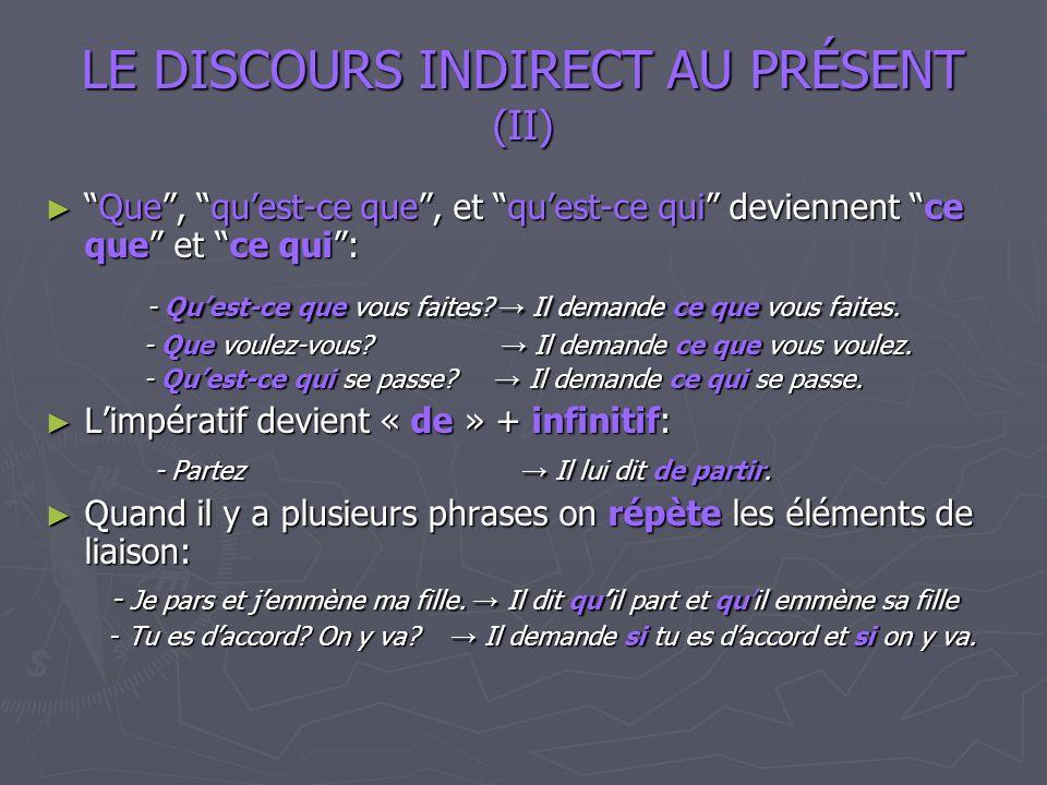 LE DISCOURS INDIRECT AU PRÉSENT (II)