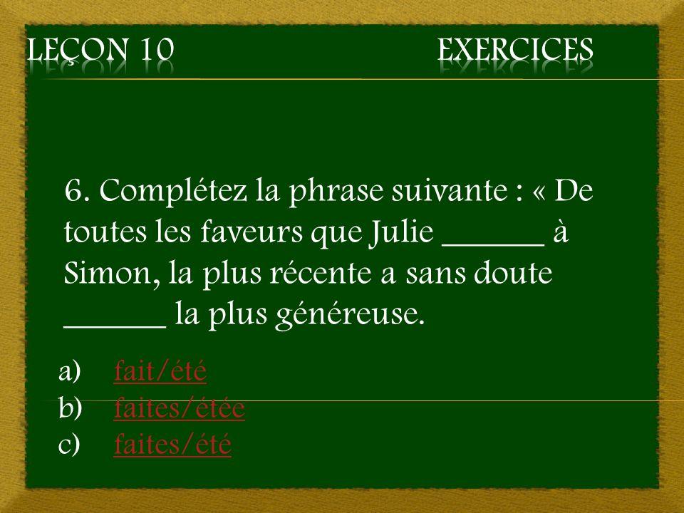 Leçon 10 Exercices