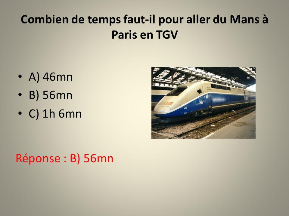 Combien de temps faut-il pour aller du Mans à Paris en TGV