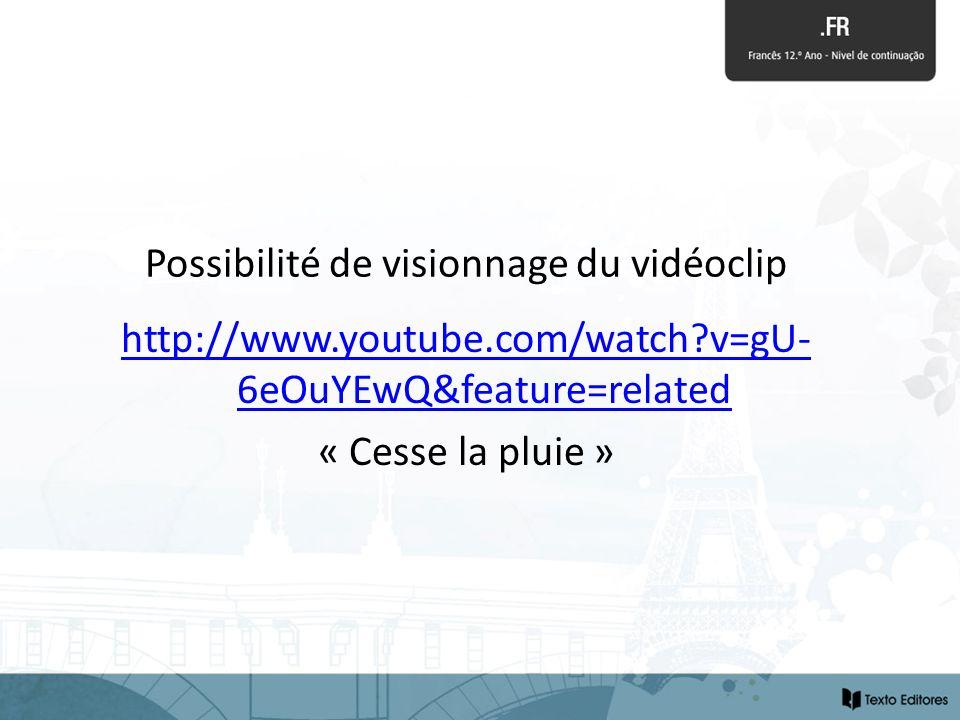 Possibilité de visionnage du vidéoclip