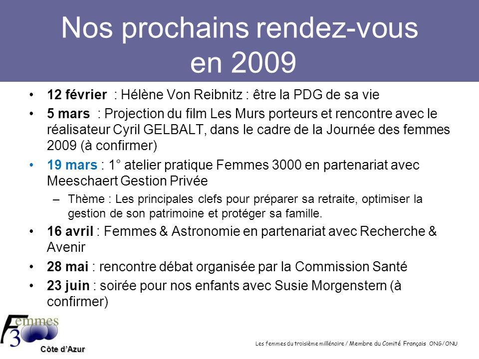 Nos prochains rendez-vous en 2009