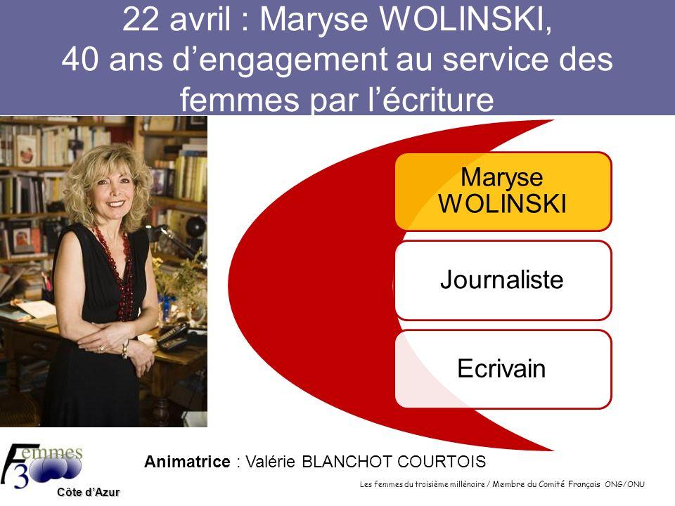 22 avril : Maryse WOLINSKI, 40 ans d'engagement au service des femmes par l'écriture