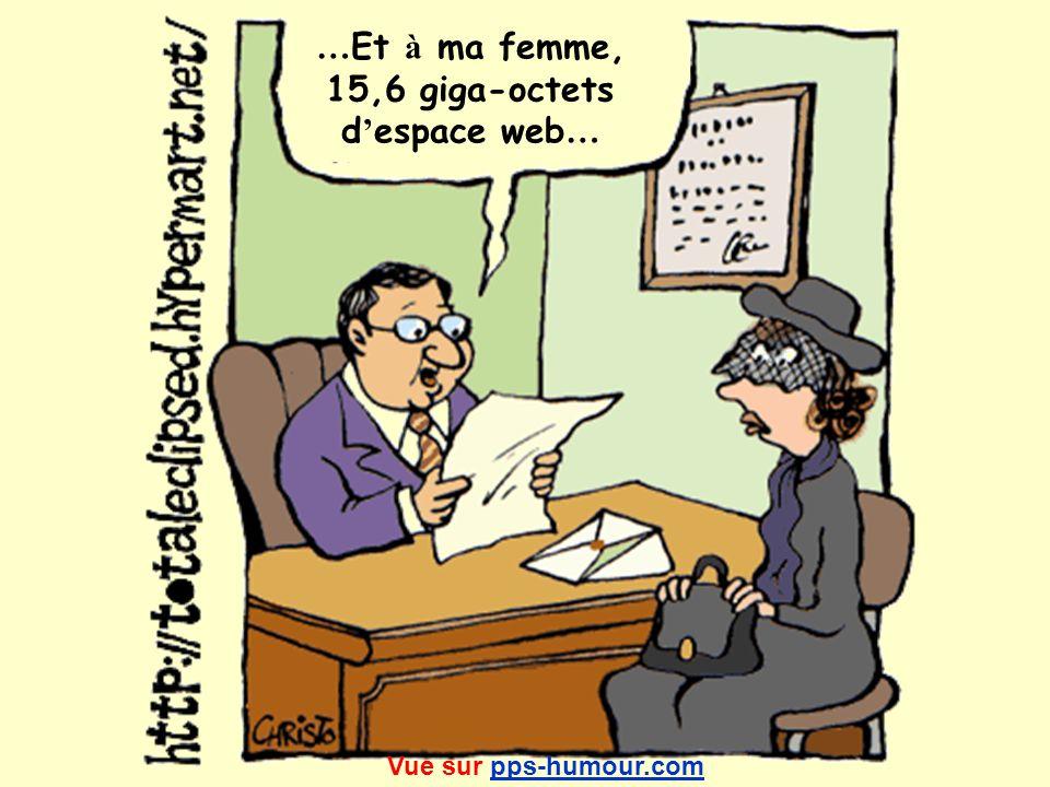 …Et à ma femme, 15,6 giga-octets d'espace web… Vue sur pps-humour.com