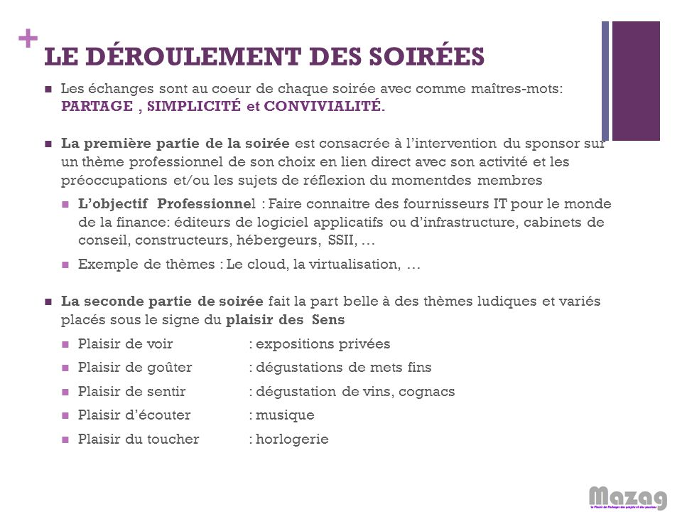 LE DÉROULEMENT DES SOIRÉES