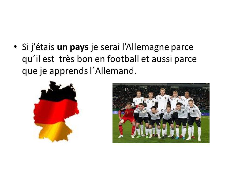 Si j'étais un pays je serai l'Allemagne parce qu´il est très bon en football et aussi parce que je apprends l´Allemand.