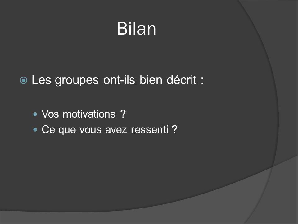 Bilan Les groupes ont-ils bien décrit : Vos motivations