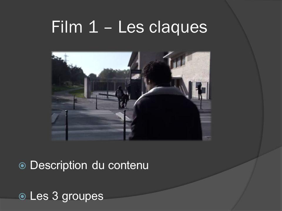 Film 1 – Les claques Description du contenu Les 3 groupes