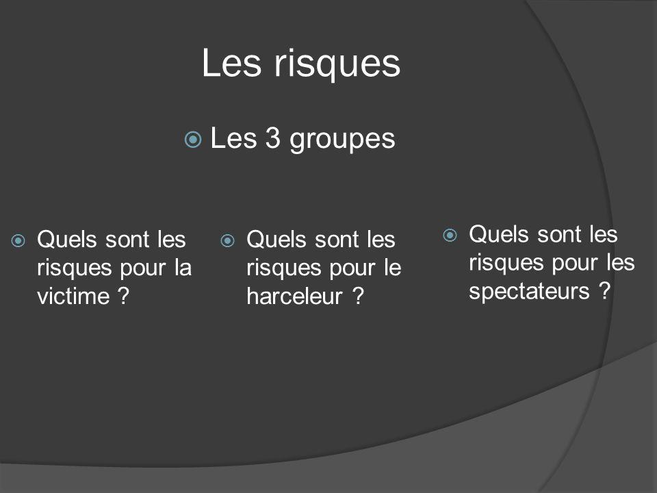 Les risques Les 3 groupes