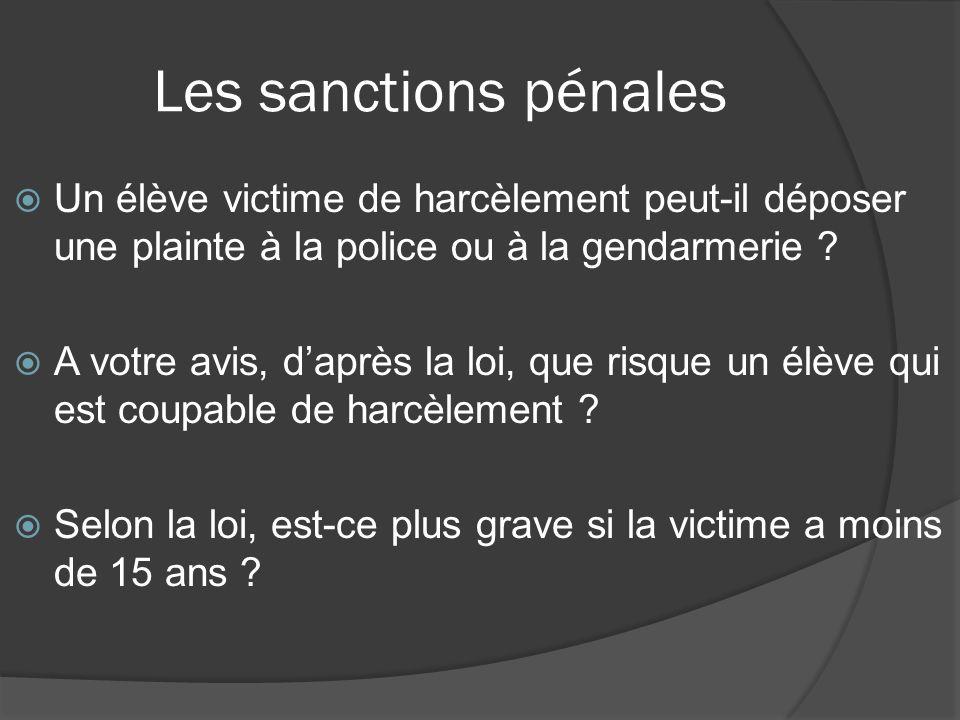 Les sanctions pénales Un élève victime de harcèlement peut-il déposer une plainte à la police ou à la gendarmerie