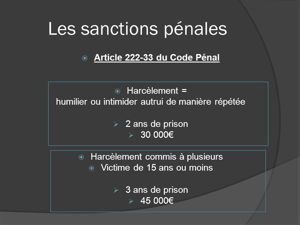 Les sanctions pénales Article 222-33 du Code Pénal Harcèlement =