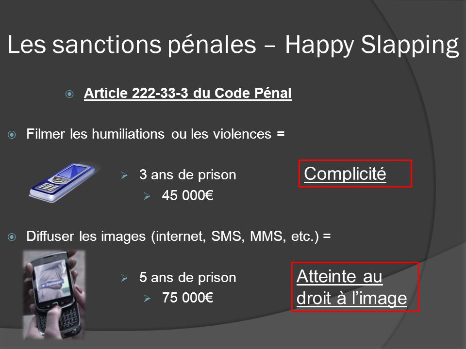 Les sanctions pénales – Happy Slapping