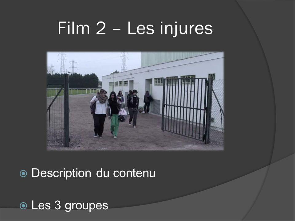 Film 2 – Les injures Description du contenu Les 3 groupes