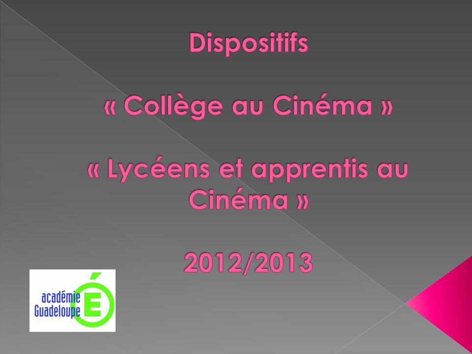 Dispositifs « Collège au Cinéma » « Lycéens et apprentis au Cinéma » 2012/2013