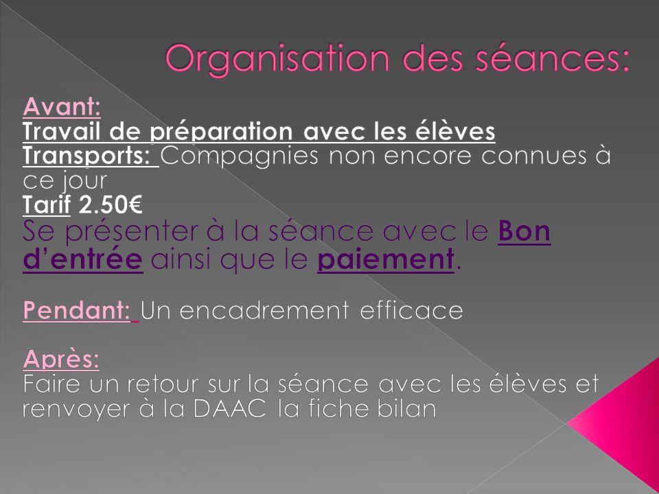 Organisation des séances: