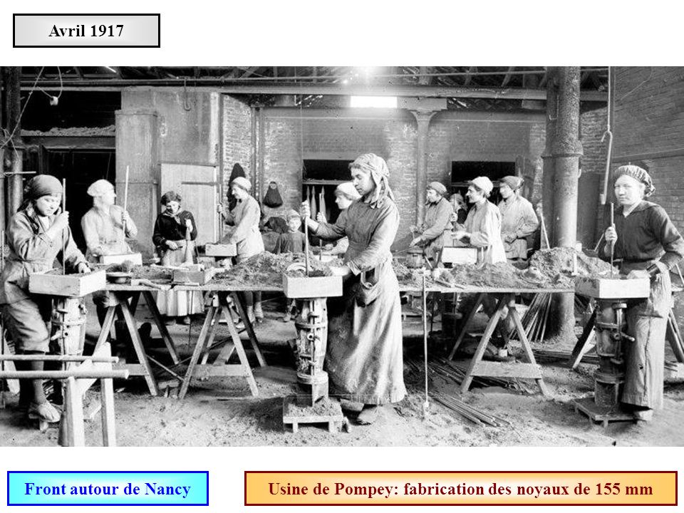 Usine de Pompey: fabrication des noyaux de 155 mm