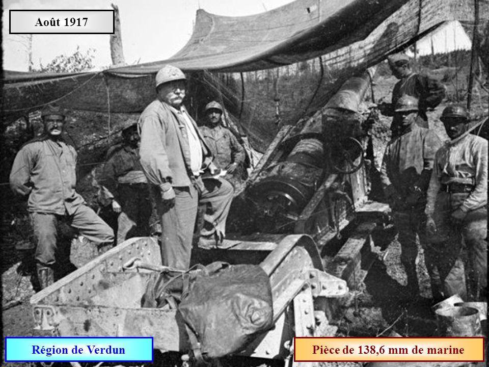 Août 1917 Région de Verdun Pièce de 138,6 mm de marine