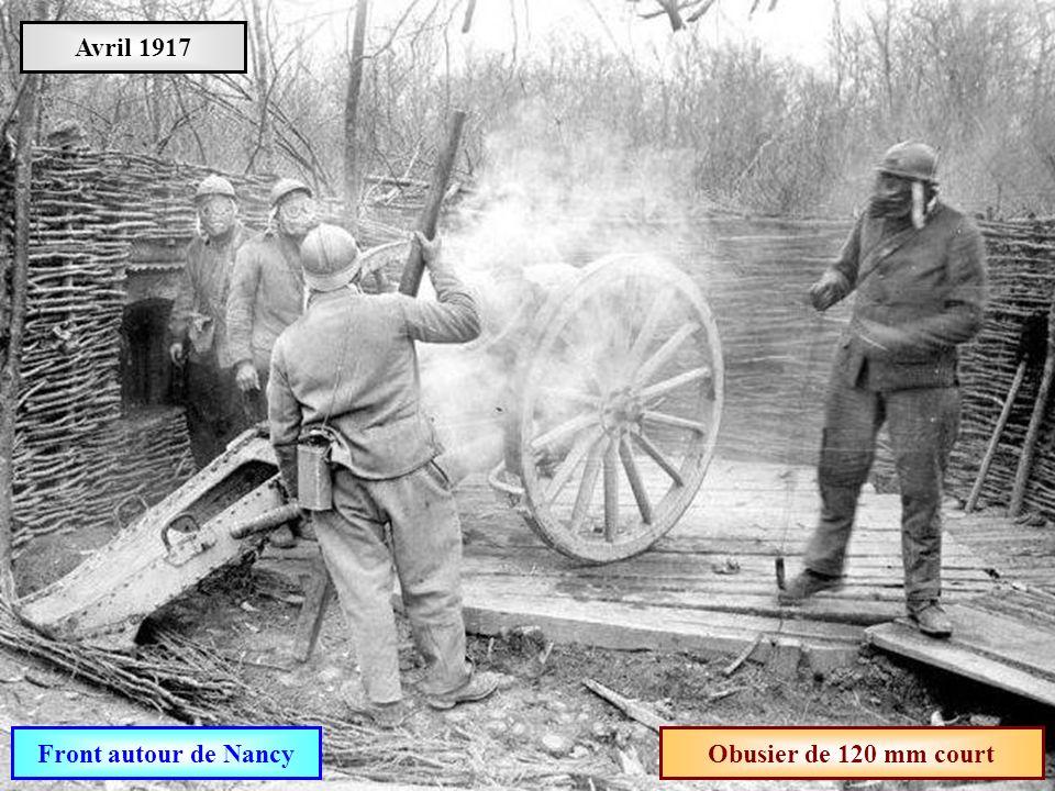 Avril 1917 Front autour de Nancy Obusier de 120 mm court