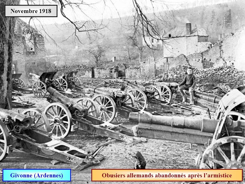 Obusiers allemands abandonnés après l'armistice