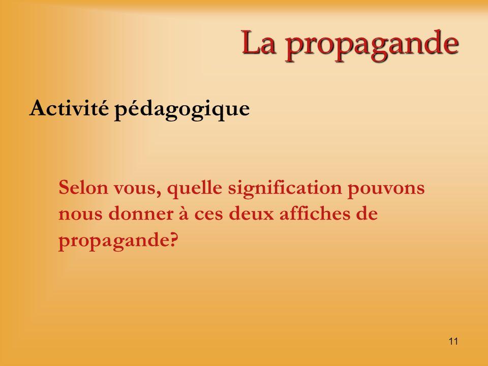 La propagande Activité pédagogique