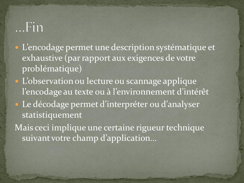 …Fin L'encodage permet une description systématique et exhaustive (par rapport aux exigences de votre problématique)