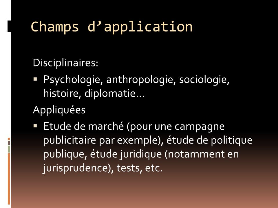 Champs d'application Disciplinaires: