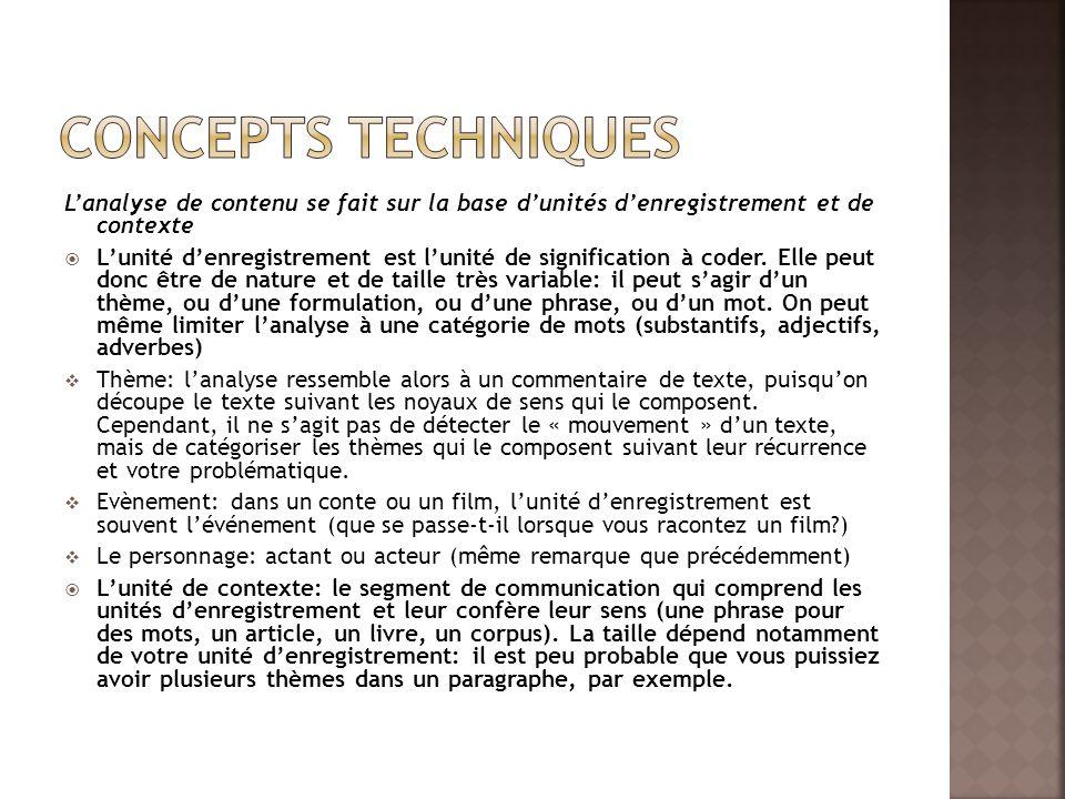 Concepts techniques L'analyse de contenu se fait sur la base d'unités d'enregistrement et de contexte.