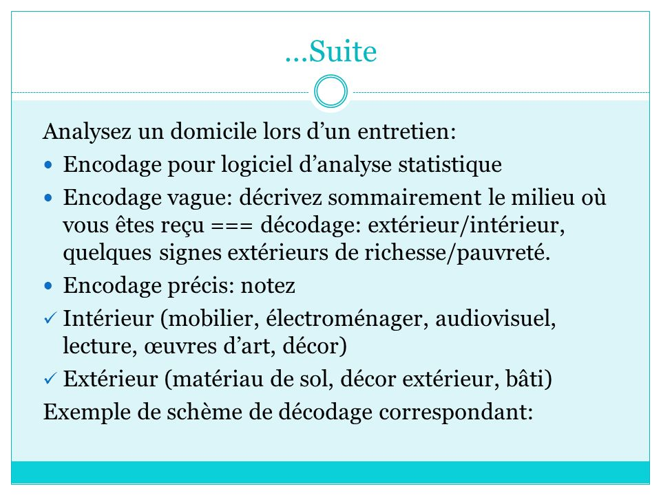 …Suite Analysez un domicile lors d'un entretien: