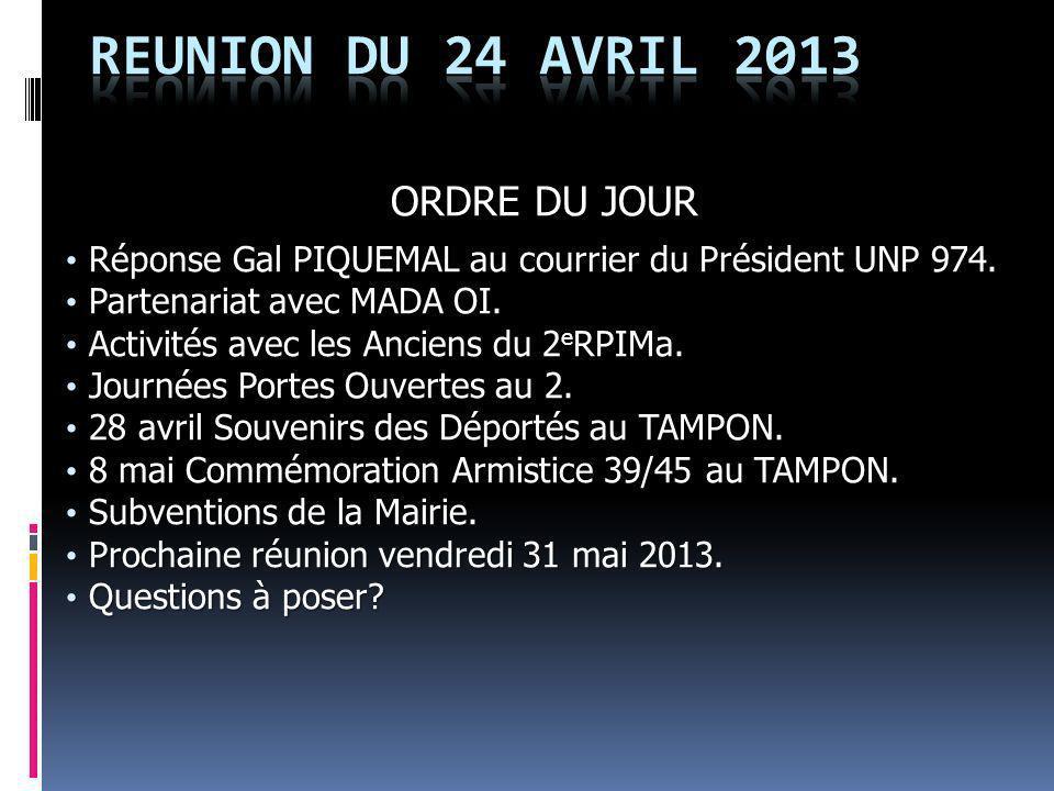 REUNION DU 24 AVRIL 2013 ORDRE DU JOUR