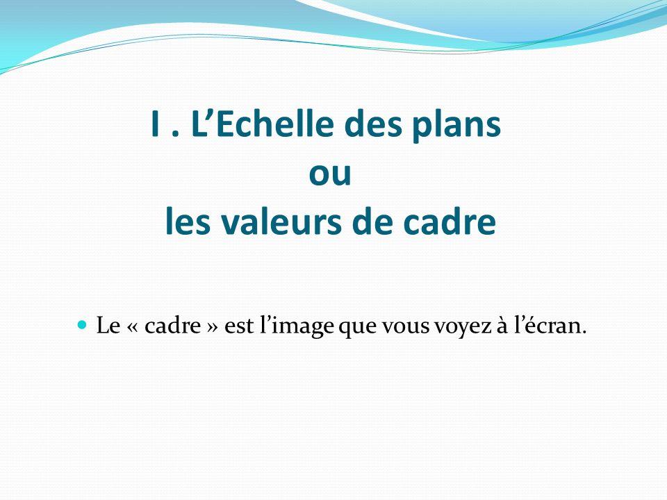 I . L'Echelle des plans ou les valeurs de cadre
