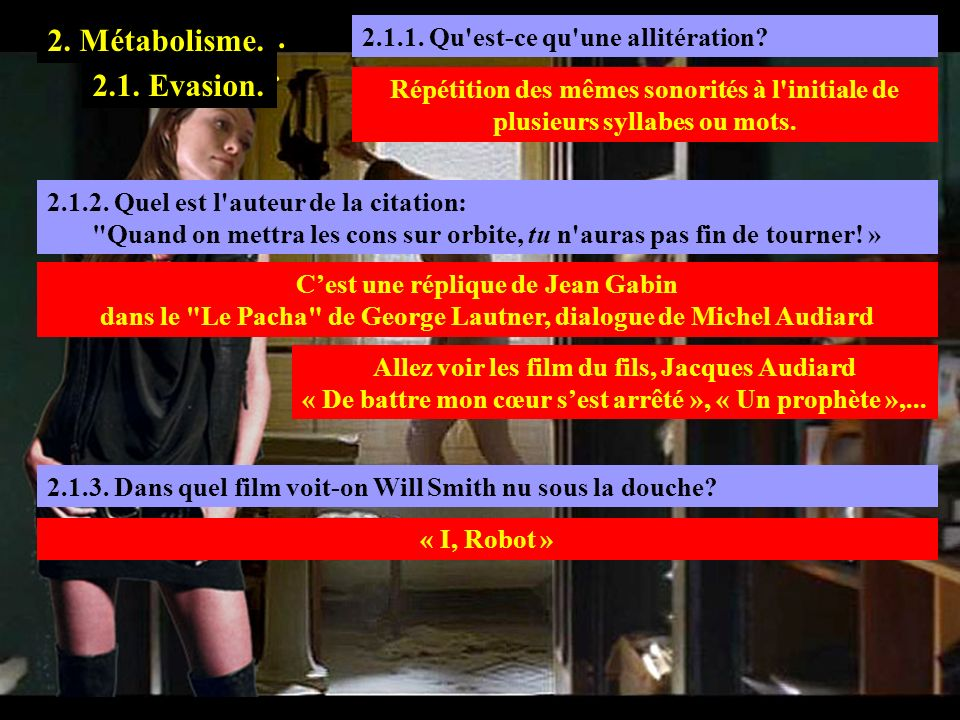 2.1.1 1. Transmutation. 2. Métabolisme. 1.3. Tolérance. 2.1. Evasion.