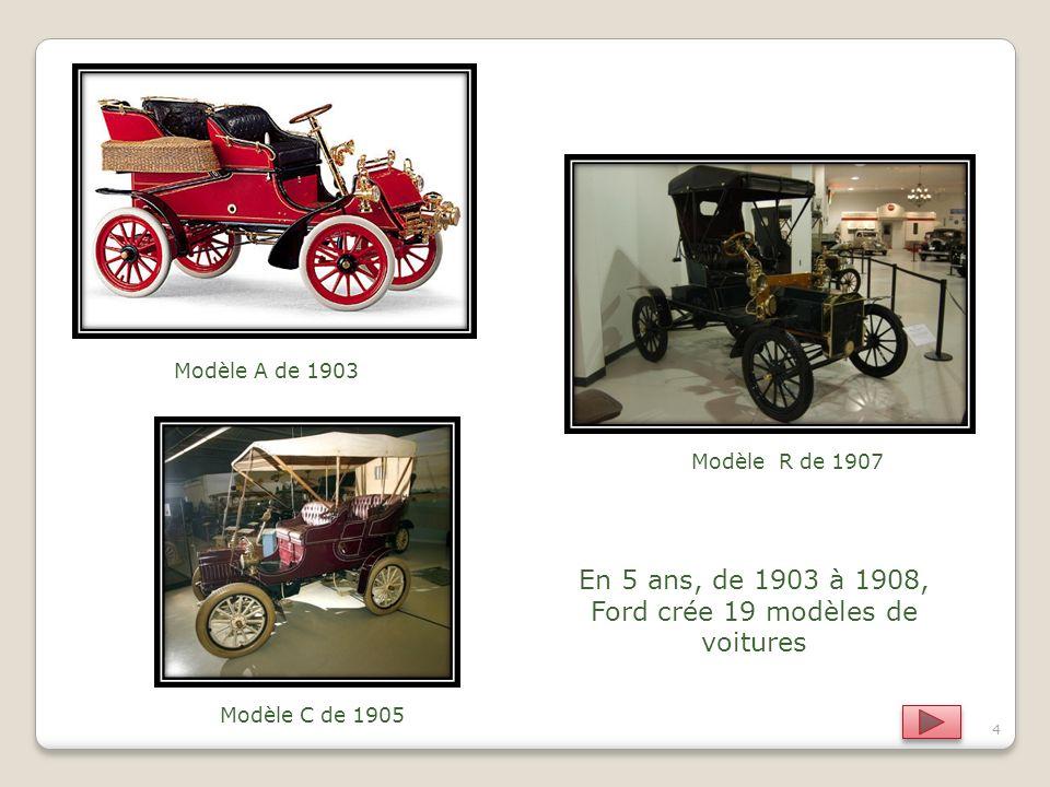 En 5 ans, de 1903 à 1908, Ford crée 19 modèles de voitures
