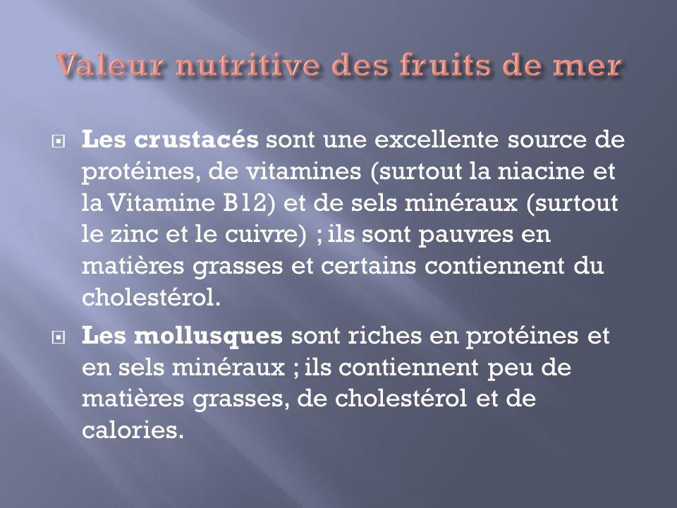 Valeur nutritive des fruits de mer
