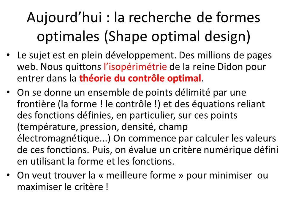 Aujourd'hui : la recherche de formes optimales (Shape optimal design)