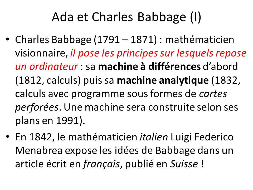 Ada et Charles Babbage (I)