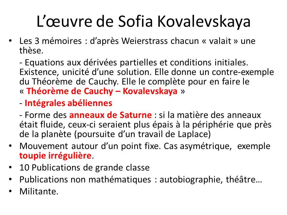 L'œuvre de Sofia Kovalevskaya