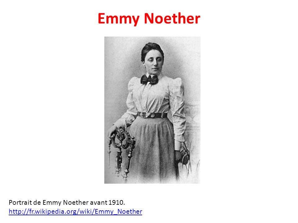 Emmy Noether Portrait de Emmy Noether avant 1910.