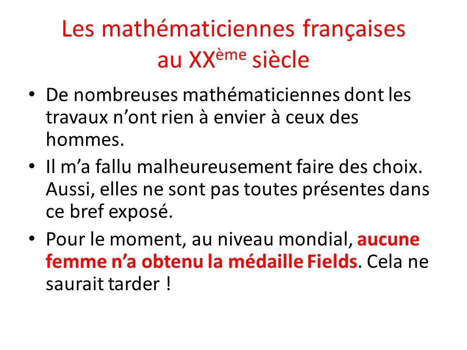 Les mathématiciennes françaises au XXème siècle