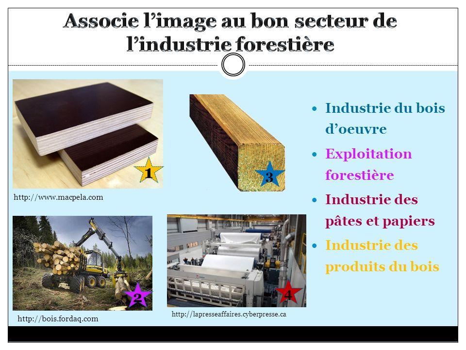 Associe l'image au bon secteur de l'industrie forestière