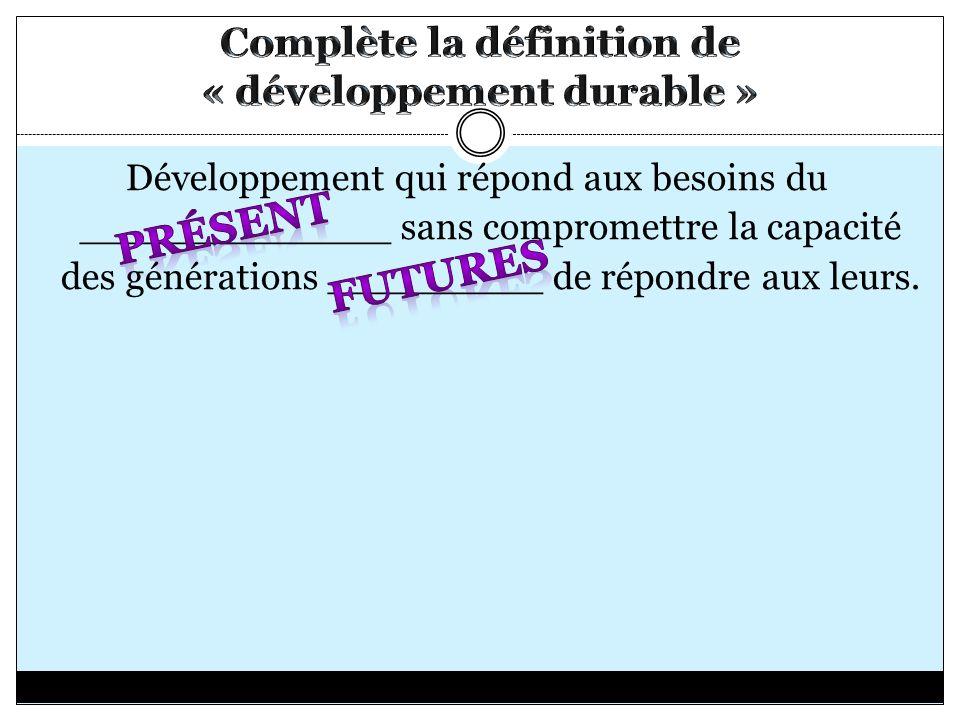 Complète la définition de « développement durable »