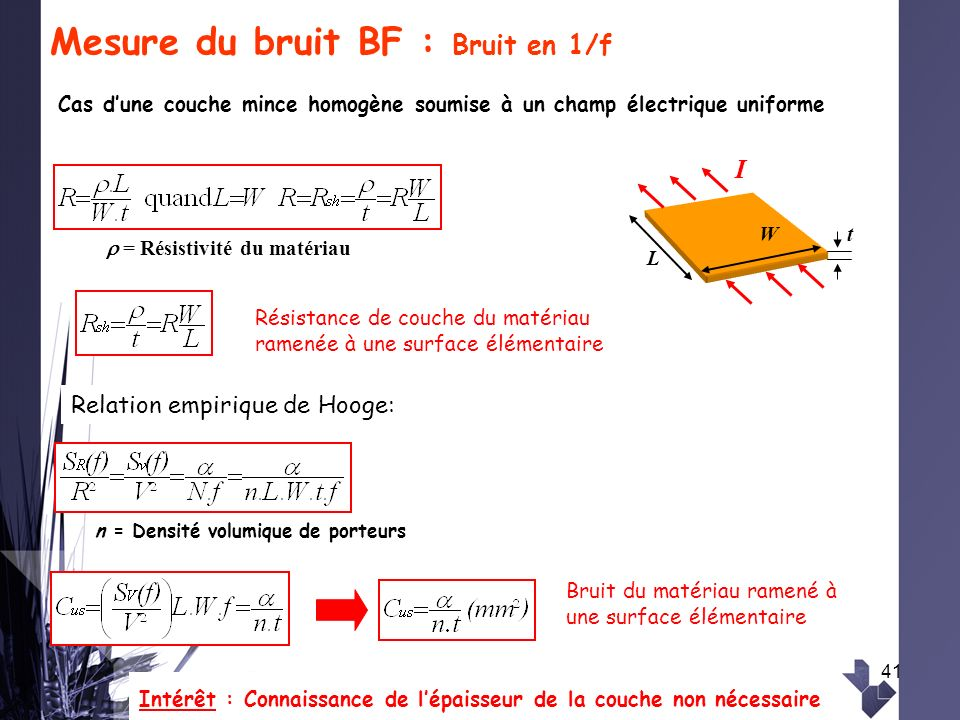 Mesure du bruit BF : Bruit en 1/f