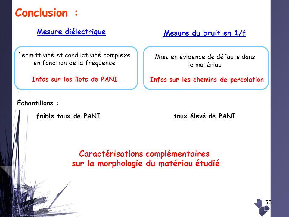 Caractérisations complémentaires sur la morphologie du matériau étudié